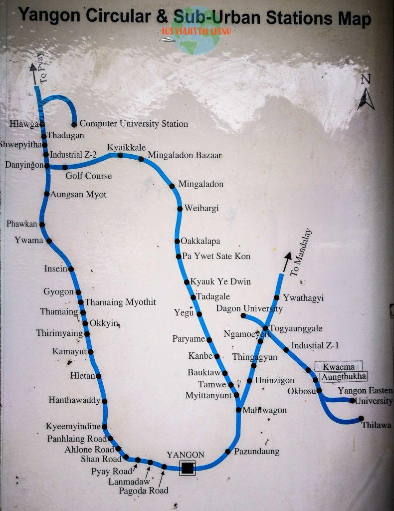 Mapa de trenes de Yangón