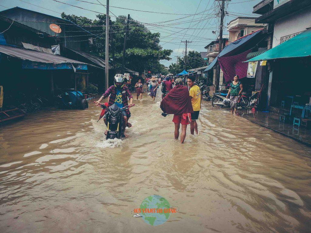 Inundación por lluvias en Myanmar